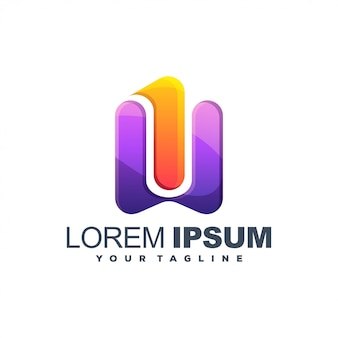 Буква w цветной логотип