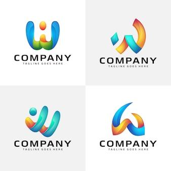 抽象的な手紙wロゴデザイン