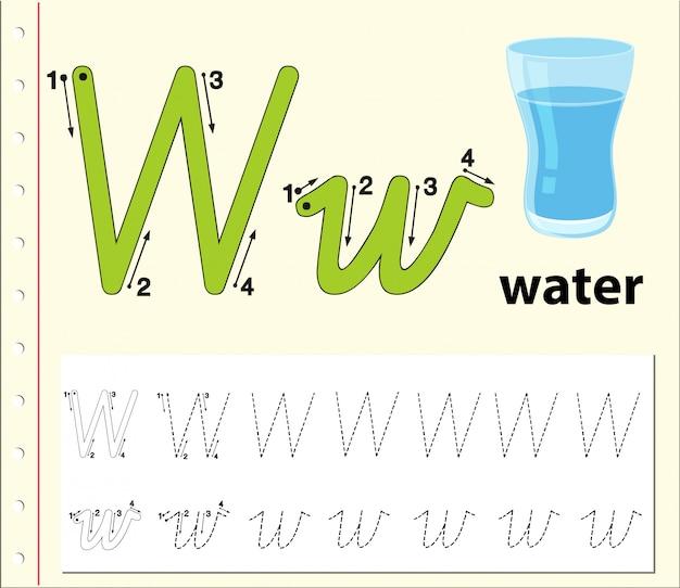 Письмо w, прослеживающее алфавитные листы