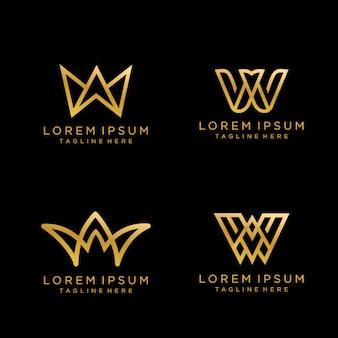ゴールドカラーのレターwラグジュアリーモノグラムロゴデザイン。