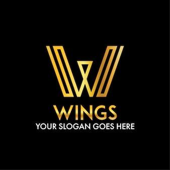 W文字の抽象的な翼の近代的なビジネスロゴ