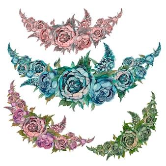 バラとライラックの牡丹の花のw花輪のセット