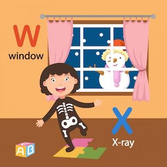 Иллюстрация изолированных алфавит буква w-окна, рентген