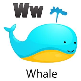 アルファベット文字wクジラ