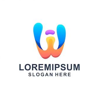 Абстрактная буквица w с логотипом