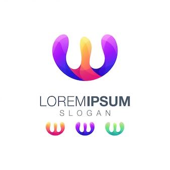 Буква w абстрактный градиент цветной логотип