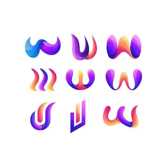 Набор букв w градиент цвета дизайн логотипа