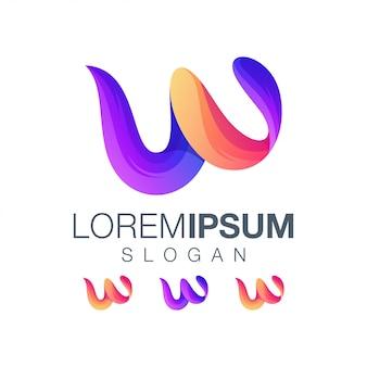 Буква w градиент вдохновения цветной логотип