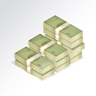 Wads of bills design with white background