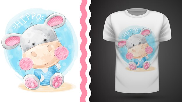 Waercolorカバ - プリントtシャツのためのアイデア