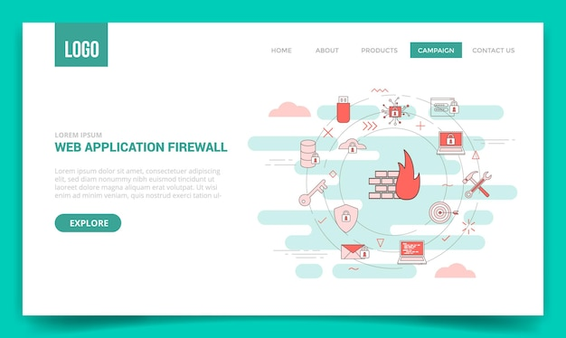 웹 사이트 템플릿 또는 방문 페이지 홈페이지 벡터에 대한 원 아이콘이 있는 waf 웹 응용 프로그램 방화벽 개념