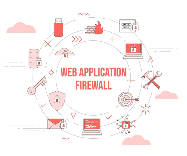 Waf web application firewall concept with icon set template banner and circle round shape vector