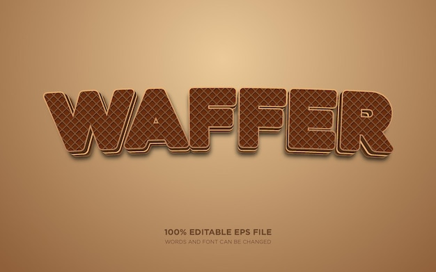 Wafer 3d editable text style effect
