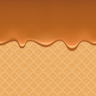 Wafer and flowing caramel