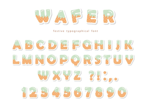 Wafer font. cute sweet letters and numbers