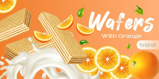Wafer realistic advertisement with fresh whole and sliced orange and milk splashes