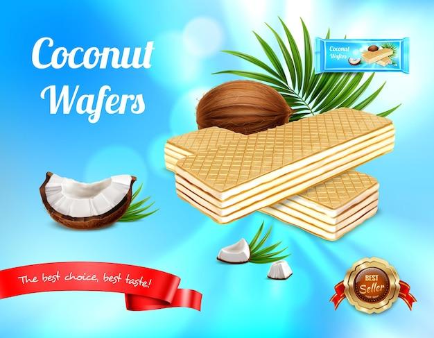 Реалистичная реклама вафель с листьями и спелыми фруктами с вафлями и редактируемым текстом