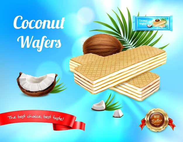 Wafer realistic advertisement with leaves and ripe fruit with waffers and editable text