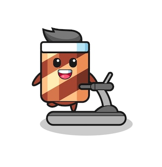 Wafer roll character cartoon getting the idea , cute style design for t shirt, sticker, logo element