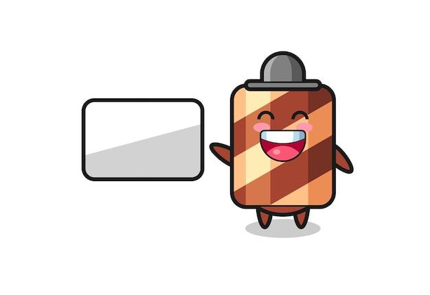 Иллюстрация персонажа вафельного рулона, когда шеф-повар готовит, милый стильный дизайн для футболки, наклейки, элемента логотипа