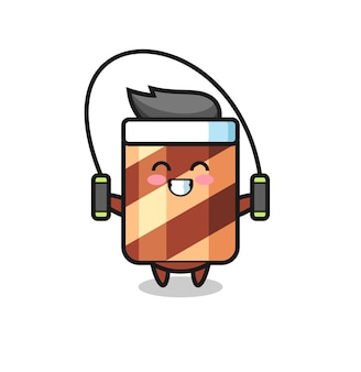 Wafer roll mascot character doing a tired gesture , cute style design for t shirt, sticker, logo element