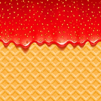 Wafer and strawberry jam background.