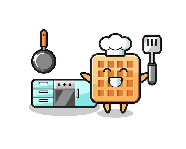 요리사가 요리하는 와플 캐릭터 일러스트, 귀여운 디자인