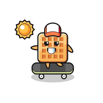 Waffle character illustration ride a skateboard , cute design