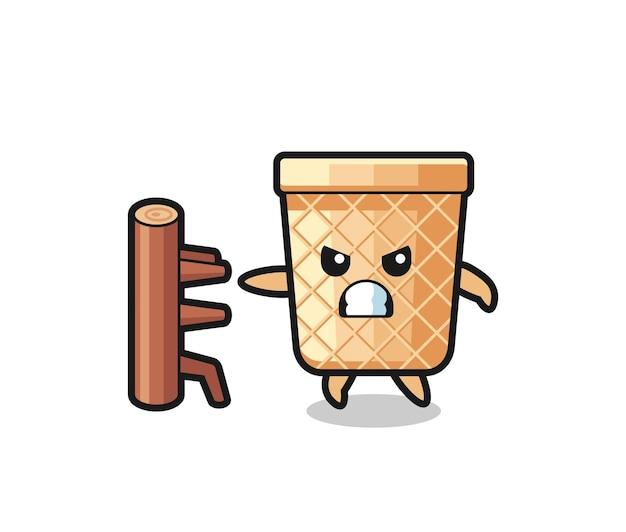 Waffle cone cartoon illustration as a karate fighter , cute design