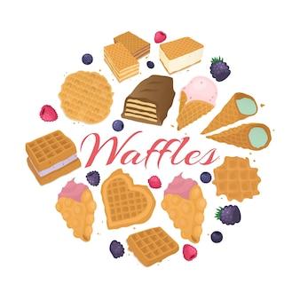Backgrond еды десерта waffle, иллюстрация. вкусный обед, вафельная закуска со сливками в пекарне, вкусный завтрак.