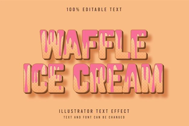 와플 아이스크림, 3d 편집 가능한 텍스트 효과.