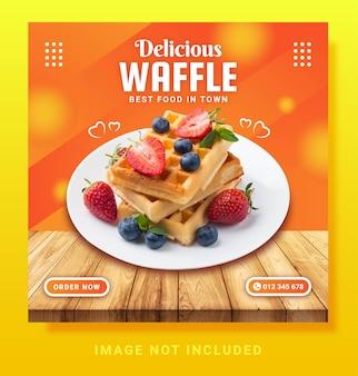Waffle instagram post social media template