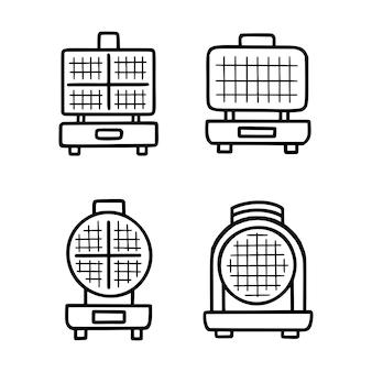 ワッフルアイロンのアウトラインベクトルアイコン。ベクトルイラストは、白い背景の上のストロークを分離しました。細い線の黒いワッフルアイアンアイコン、編集可能なキッチンコンセプトからのフラットなシンプルな要素のイラスト。