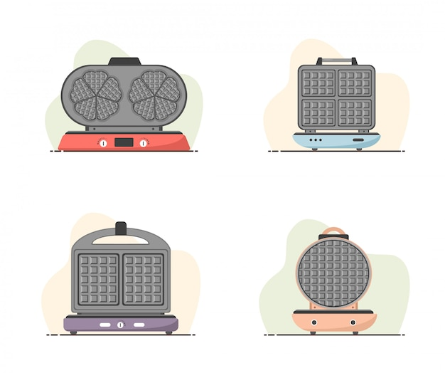 Waffle-iron. set of waffle makers isolated on white. cooking breakfast. modern vector illustration in flat cartoon style.