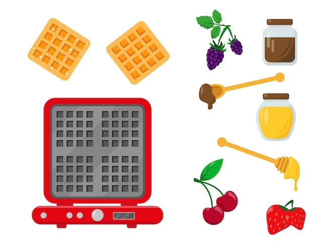 Вафельница с вафлями и ингредиентами для сервировки и украшения.