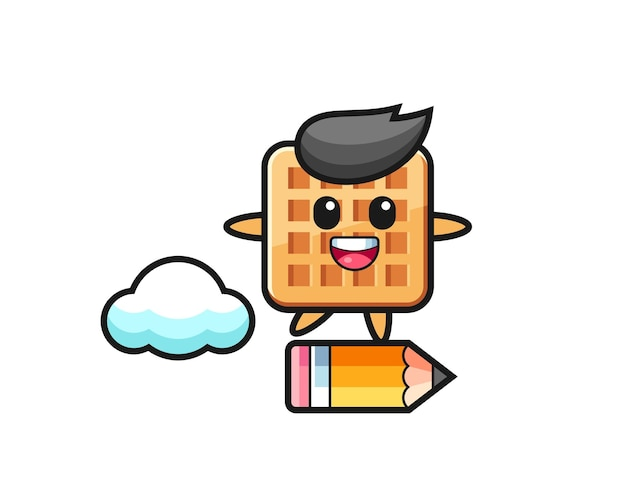 Waffle mascot illustration riding on a giant pencil , cute design