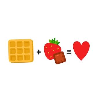 ワッフルとイチゴ、チョコレートは愛に等しい。かわいい面白いポスター、カードイラスト。ベクトル漫画イラストアイコン。白い背景で隔離。ワッフル、チョコレート、イチゴ、面白い方程式の概念