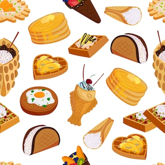ワッフル甘いクッキーシームレスパターンフラットスタイルのイラスト。おいしい焼き菓子ケーキビスケットクリーミーなサクサクのデザートフードスナック。