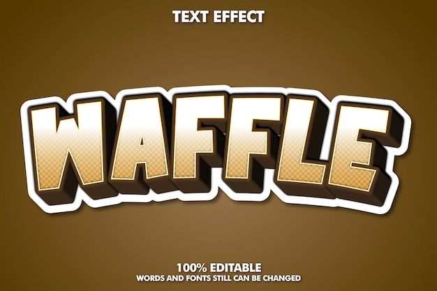 Waffle text, editable cartoon text style