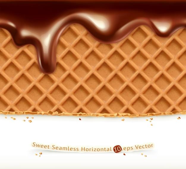 ワッフルとチョコレートのイラスト