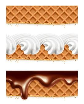ワッフル、チョコレート、ホイップクリーム、シームレスな水平パターン