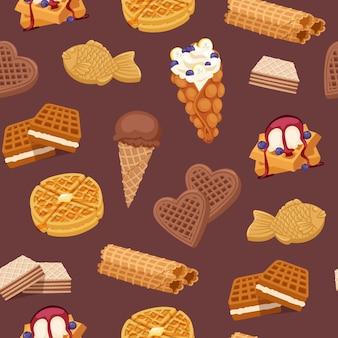 ワッフル、クッキー、アイスクリーム、ワッフルケーキ、チョコレートのおいしいデザートウェーハベーカリー食品のシームレスなパターン図。