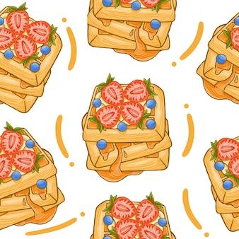 Waffles seamless pattern in flat design style