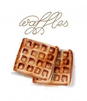 Waffles in watercolor