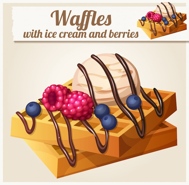 Waffles with ice cream and berries. detailed vector icon