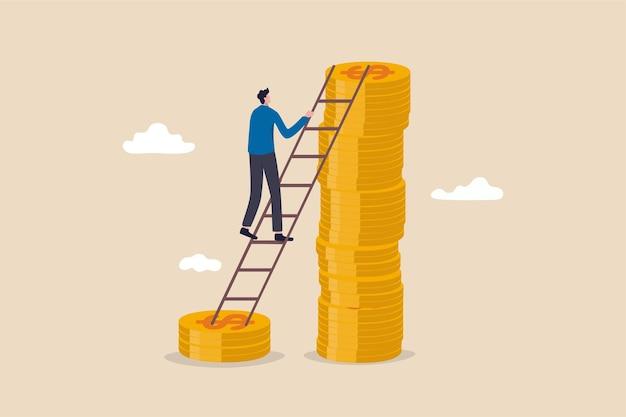 임금, 소득 또는 급여 증가 개념.