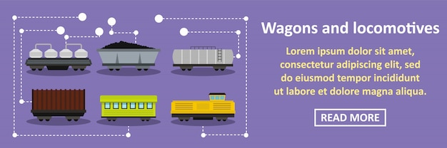 Wagons and locomotives banner horizontal concept