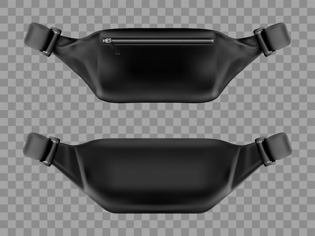 Waist bag, belt pouch, black fanny pack mockup