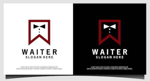 Официант галстук-бабочка логотип дизайн вектор