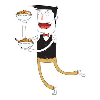Waiter bring some bowls of noodles
